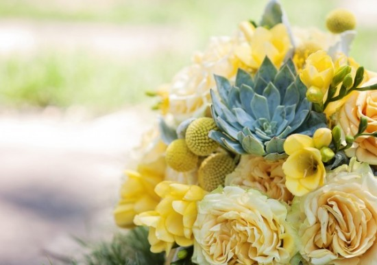 Twigs and Posies Colorado Springs florist wedding flowers bouquet Yellow Freesia, finesse roses, billy balls, succulents