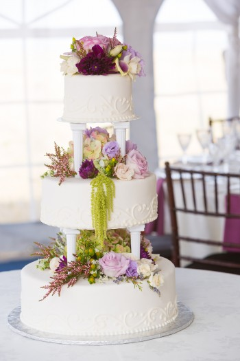 Purple, green and ivory