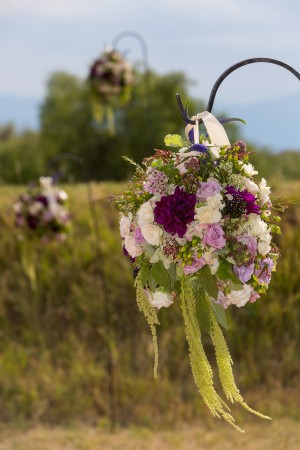 Dahlia, lisianthus, spray roses, hypericum berry, privet berry, hanging amaranthus