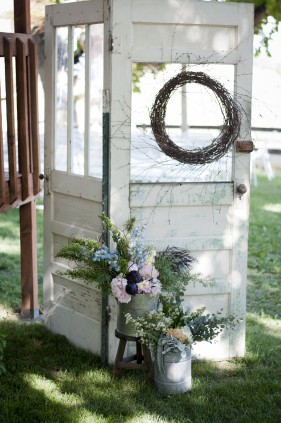 antique doors and floral decor