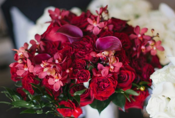Red And Gold Wedding Twigs Posies Colorado Springs Florist Flowers Bouquet